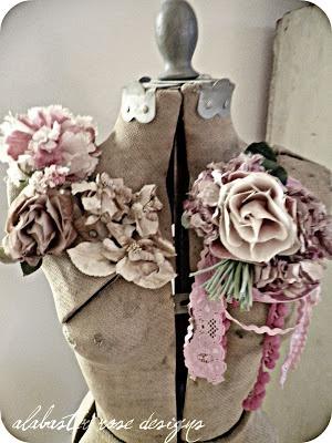 ~vintage dress form with vintage millinery flowers~