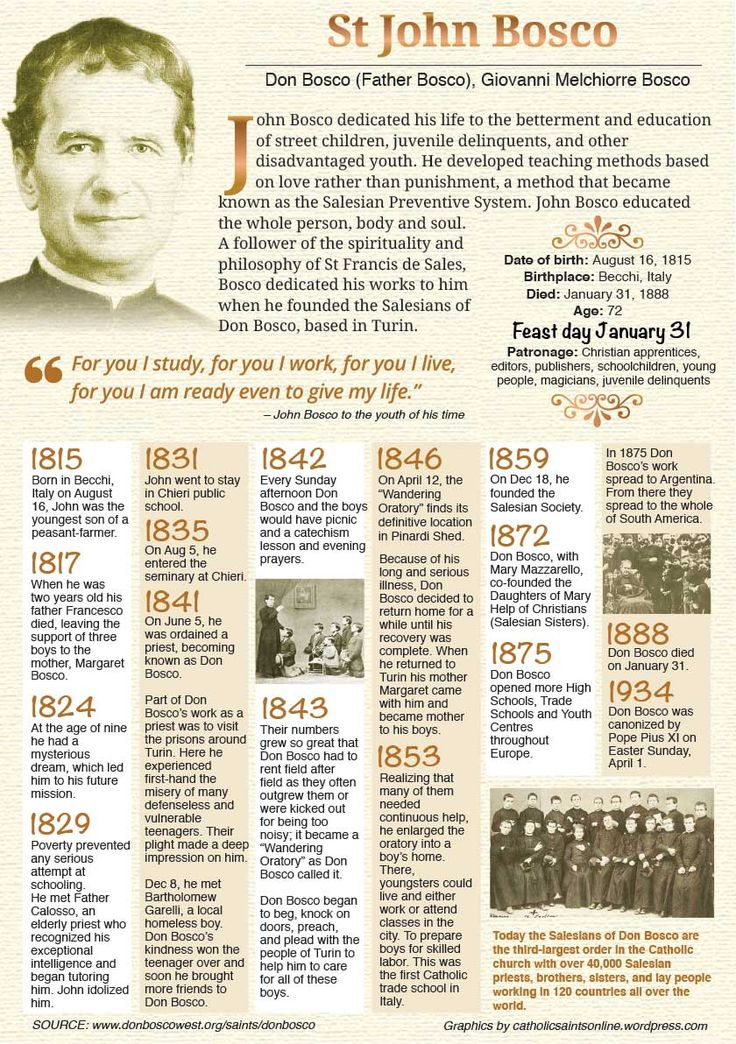 the life of a saint john bosco Life of st john bosco john bosco was born on august 16, 1815 in the village of becchi, close to castelnuovo d'asti (today castelnuovo don bosco, northern italy.