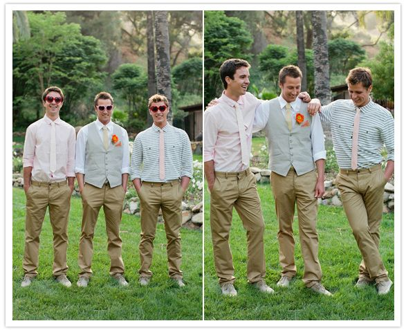 Cute, casual khaki and pastel #groomsmen would go great with the burlap and Tiffany blue :) this could be an option...