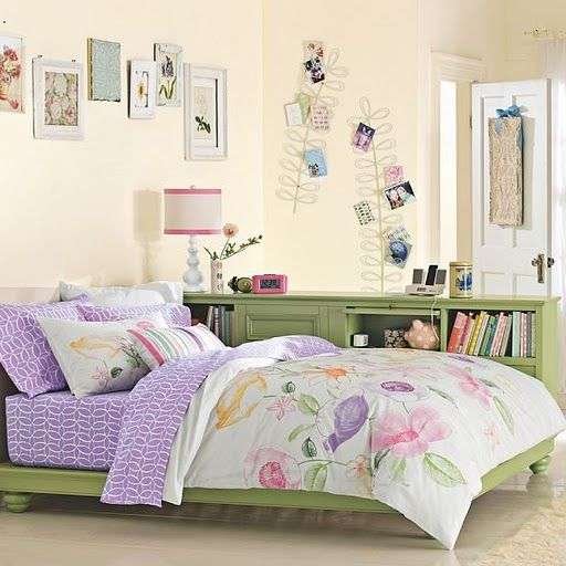 Teen bedroom girls idea space saver design decor green for Purple and pink bedroom ideas