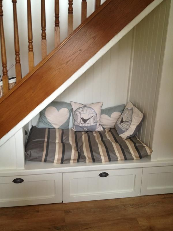 Dog bed under the stairs!                                                                                                                                                      More