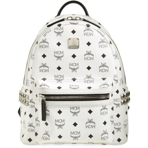 MCM 'Small Stark' Side Stud Backpack ($720) ❤ liked on Polyvore featuring bags, backpacks, white, strap backpack, white studded backpack, studded backpack, pocket backpack and white backpack