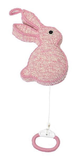 MOBILE MUSICAL LAPIN ROSE A accrocher ou à poser Musique Brahm's Lubally Cotton organique crochet fait main 19x10cm Prix : 56 €