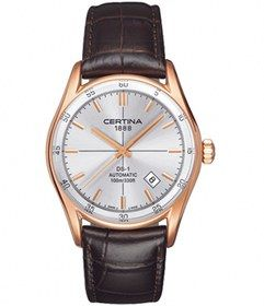 Certina Automatic Silver Dial Rose Gold PVD Coated Stainless Steel Case, Rose PVD Hour Indices And Hands With Brown Leather Strap Watch #C006.407.36.031.00 (Men Watch). Please Visit us at the following URL: http://www.bodying.com/certina-automatic-silver-dial-c006-407-36-031-00/watches/63739