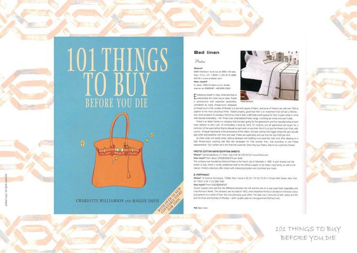 """A reading for Pratesi and Luxury lovers. """"101 Things to Buy Before You Die""""   #Pratesi #magazine #PILLOW #TOPSHEET #KINGSIDEBED #LINEN #pratesiluxury #madeinitaly #elegance #fashion #bedding #bed #bedroom #embroidery #cool #mode #newyork #home #style #101thingstobuybeforeyoudie"""
