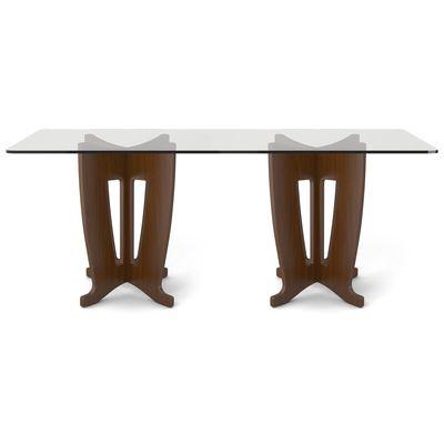 Manhattan Comfort, 105451, Dining Room Tables, Manhattan Comfort Jane 2 0  78 64 In Sleek Tempered Glass Table Top In Nut Brown
