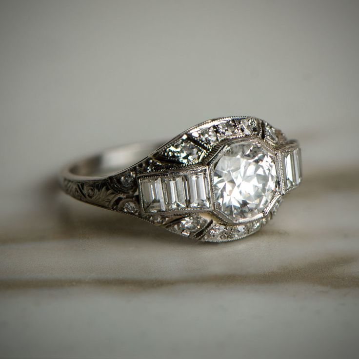 A beautiful 1920 Antique Engagement Rings. Art Deco Era. Available for sale by Estate Diamond Jewelry.