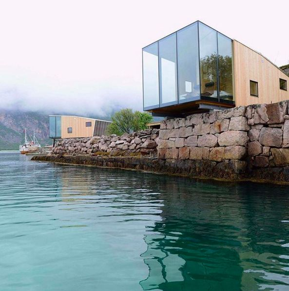 Who wishes one of these modern cabins was their holiday getaway?Manshausen Island Resort in Norway.