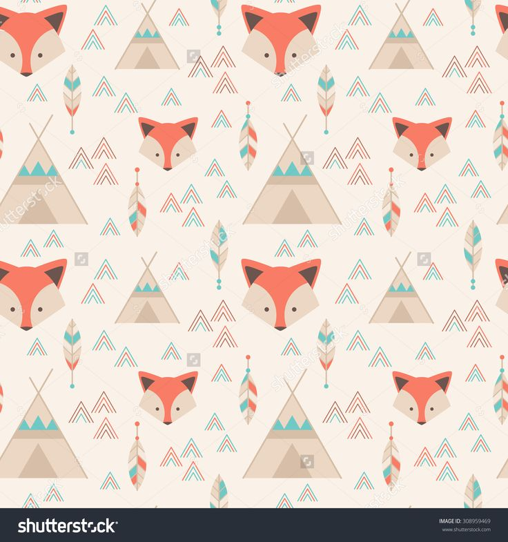 Cute Tribal Geometric Seamless Pattern In Cartoon Style With Fox, Wigwams, Arrows And Feathers For Fabric And Web Backgrounds Banco de ilustração vetorial 308959469 : Shutterstock