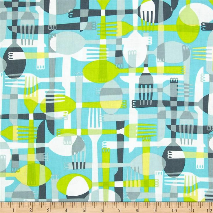Kanvas Toss & Serve Utensils Aqua/Grey from @fabricdotcom  Designed by Maria Kalinowski for Kanvas Studios for Benartex, this cotton print is perfect for quilting, apparel and home decor accents.  Colors include white, charcoal, grey, lime and aqua.