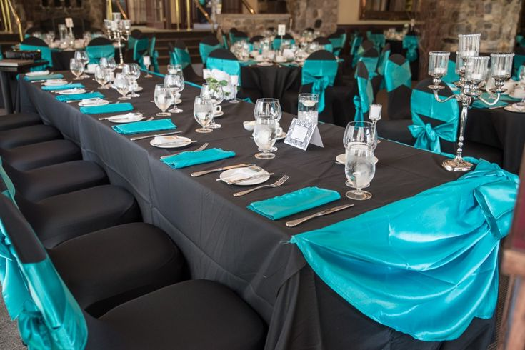 Black  teal wedding- Ottawa Wedding www.rsvp-events.caTables, Dark Gray, Gray And Aqua Wedding, Teal And Gray Wedding Ideas, Teal And Black Wedding Decor, Black Teal Weddings, Colors Dark, Teal Wedding'S Difference, Black And Teal Wedding Ideas
