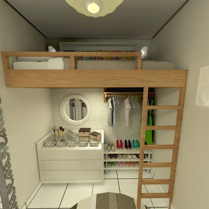 Projeto de pequeno quarto de estudante feminino