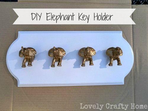 DIY Elephant Key Holder! How cute!! I have all the toys already!! :)