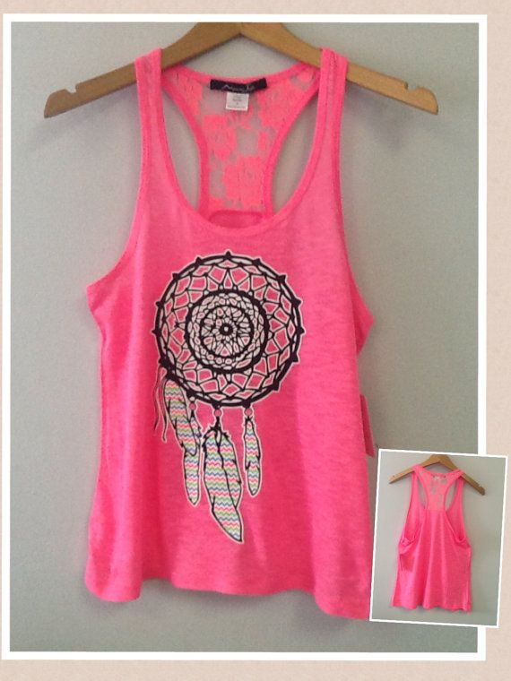 Racer tank w/ laced back Dream Catcher by CustomTsCorp on Etsy, $19.99