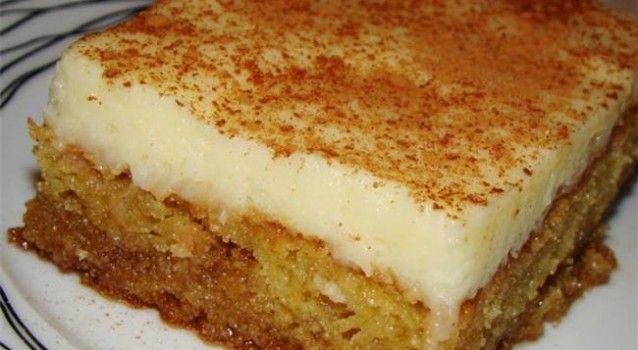 Μια συνταγή για ένα υπέροχο γλύκισμα. Απίστευτο αποτέλεσμα.Σιροπιαστή βάση με άρωμα μαστίχας και κρέμα ζαχαροπλαστικής πασπαλισμένη με κανέλα !!! Γνωστό και ως πολίτικο Θεσσαλονίκης. Υλικά συνταγής Για τη βάση: 2 1/2 φλ. τσαγιού σιμιγδάλι χονδρό 1 1/2 φλ. τσαγιού ζάχαρη 250 ml φρέσκο γάλα 1/2 κ.σ. μπέϊκιν πάουντερ 1 κ.γ. μαγειρική σόδα 1/2 κ.γ.