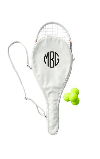 Monogrammed Tennis Racket Holder. This is the preppiest thing I've ever seen, and I love it.