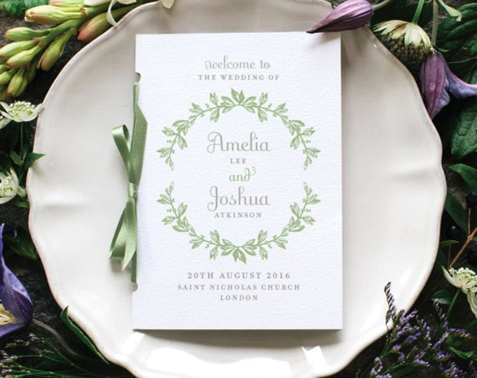 Rustic Botanical Wedding Program / 'Vintage Wreath' Pocket-sized Order of Service Mass Booklet / Sage Green or Custom Colours / ONE SAMPLE