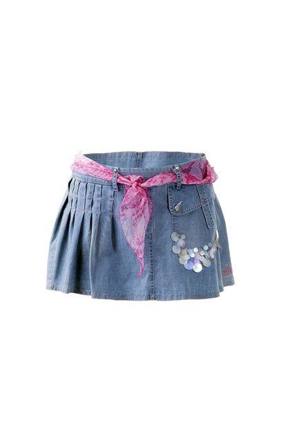 Gonna Jeans taglia 13 - 14 anni con cintura e foulard in cotone. Scervino Street. In vendita da www.coglilabito.it/acquista-on-line/kids