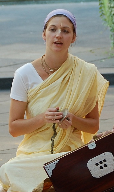 White girl in white saree