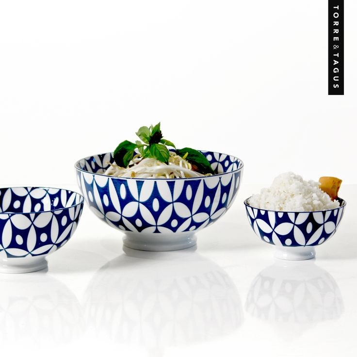 Enjoy your favorite dish served in a popular Kiri Bowl! The dark blue and bold colored pattern creates a classic and inviting table. #TorreAndTagus #ColourYourHome #HomeDecor #KiriBowl www.torretagus.com