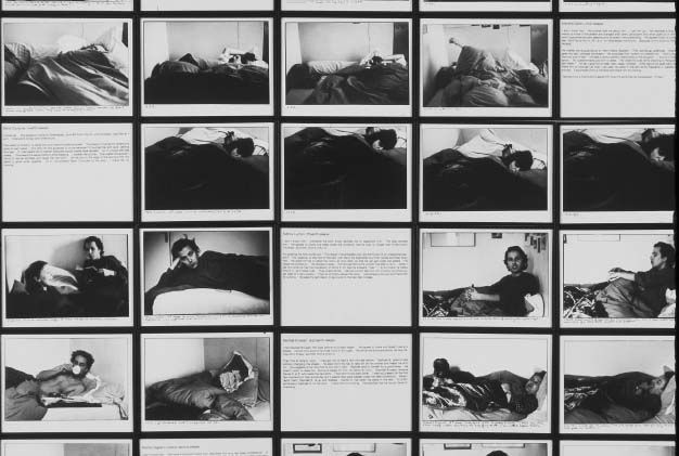 Calle took photographs of the sleepers and noted the important elements of these short meetings: subjects of discussion, positions of the sleepers, their movements during their sleep, the detailed menu of their breakfast she was preparing for them.