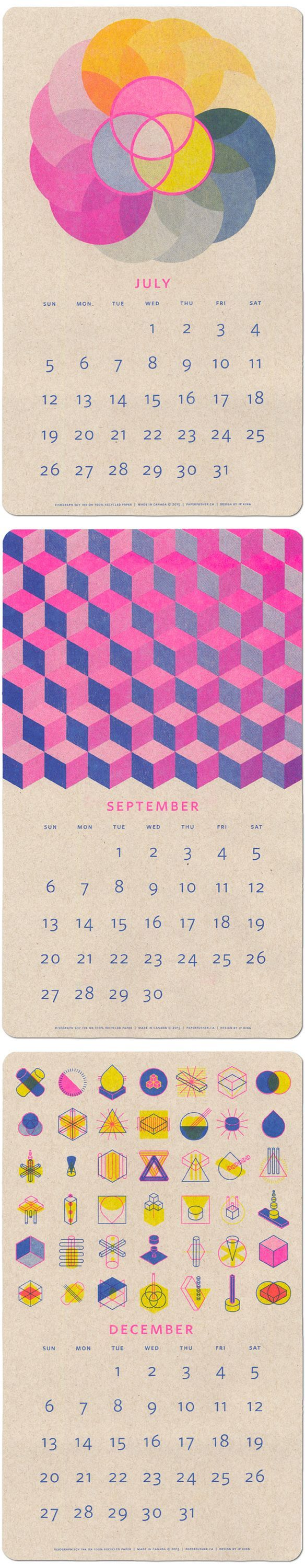 2015 risograph print calendar by paper pusher (aka jp king)