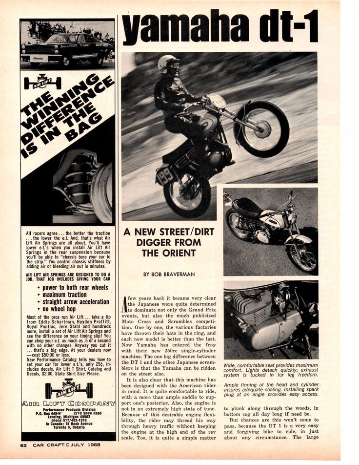 1968 Yamaha DT 1 250cc Motorcycle Original 2 Page Article Ad | eBay