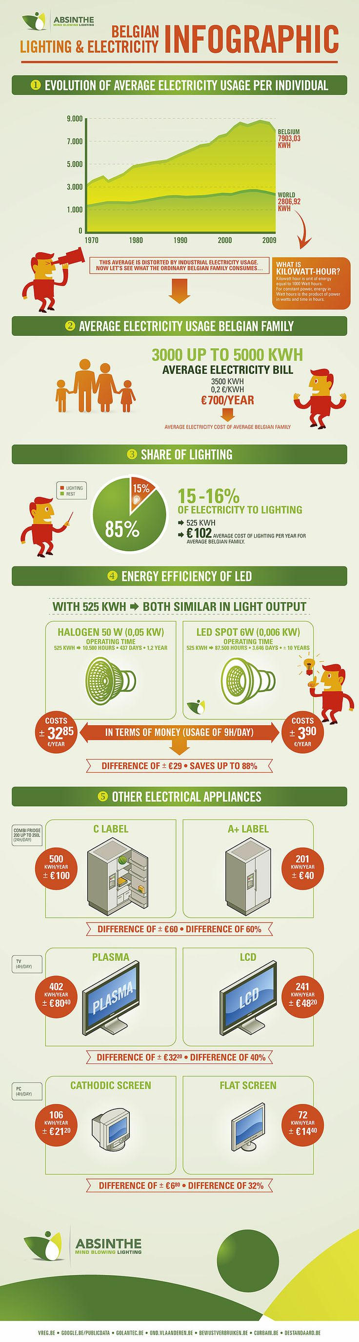 Belgian Lighting & Electricity Usage Infographic