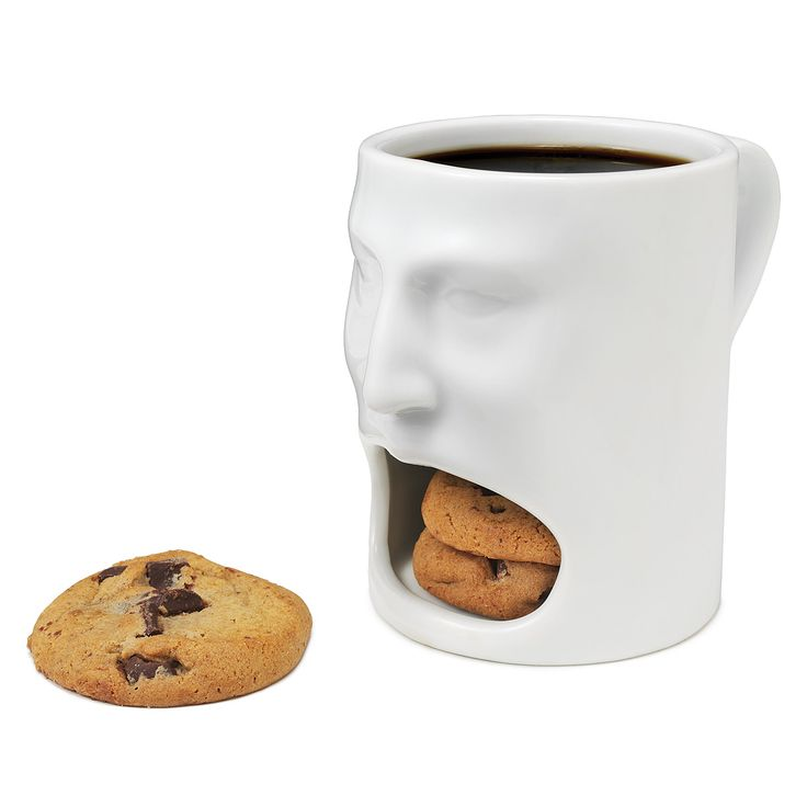 The Face Mug holds a mouthful of tasty treats and can be pretty hot-headed. Of course, if coffee and cookies aren't your perfect snack, it works just as well for milk or many other favorite drink/food combos.