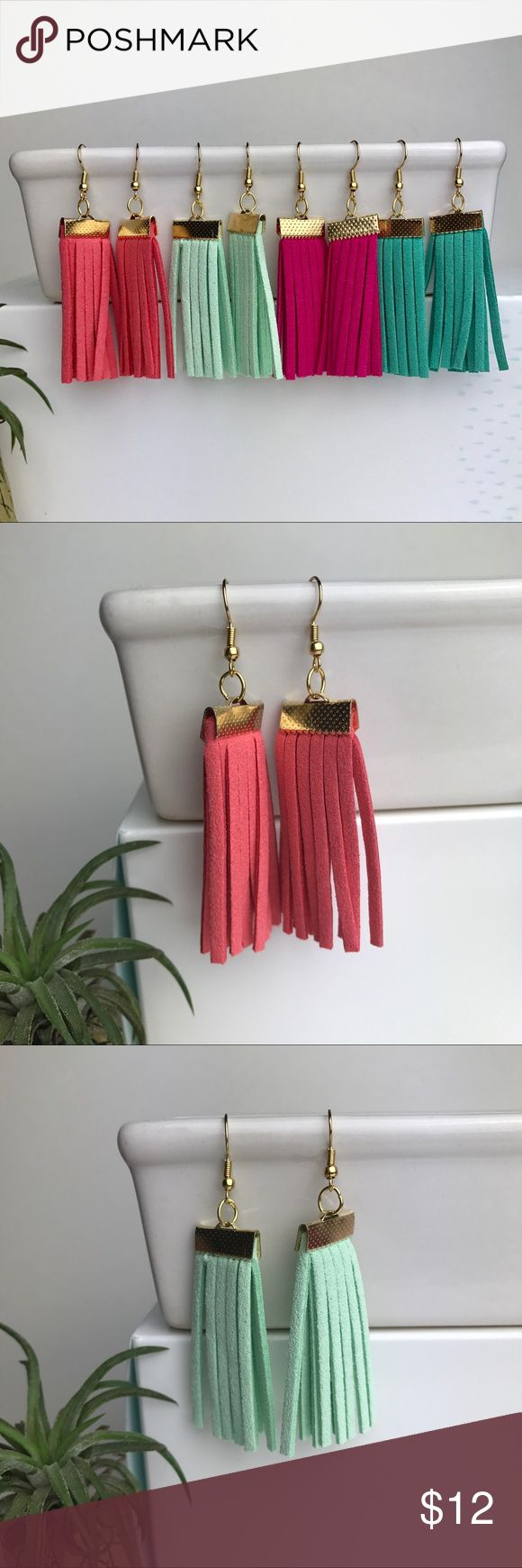 """Fringe Tassel Earrings Fringe Tassel Earrings add a fun, summery hint of color to any outfit. Fishhooks stay in place and are 18K plated gold, Nickel Free. Around 3"""" in total length. Faux Suede. Bundle to save 20% off! No trades. Arrive to you attached to a card in a mini cloth jewelry bag. Jewelry Earrings"""