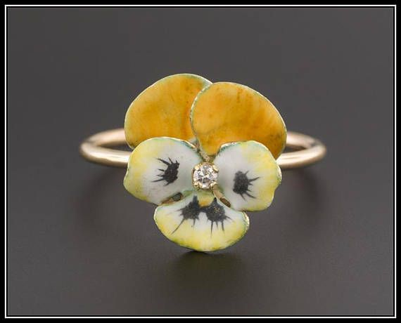The Word Pansy Is Derived From The French Word Pensee Meaning A Thought And Pansies Have Long Symbolized Thoughts A Conversion Jewelry Vintage Rings Stick Pins