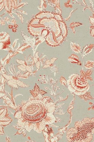 Red on linen flower wallpaper T4147