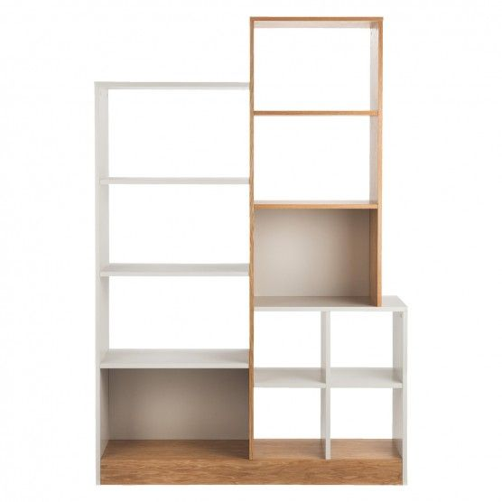 MILES Oak and linen white large tall shelving unit   Buy now at Habitat UK