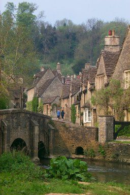 The bridge in Castle Combe in Wiltshire, UK. there are no satalite dishes allowed in the beautiful village, even telephone lines are disguised to preserve the beauty.