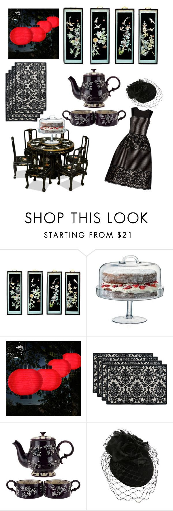 """Tea Party Theme: Oriental-Goth Fusion"" by fabzilla ❤ liked on Polyvore featuring interior, interiors, interior design, home, home decor, interior decorating, LSA International, TradeMark, Park B. Smith and teaparty"