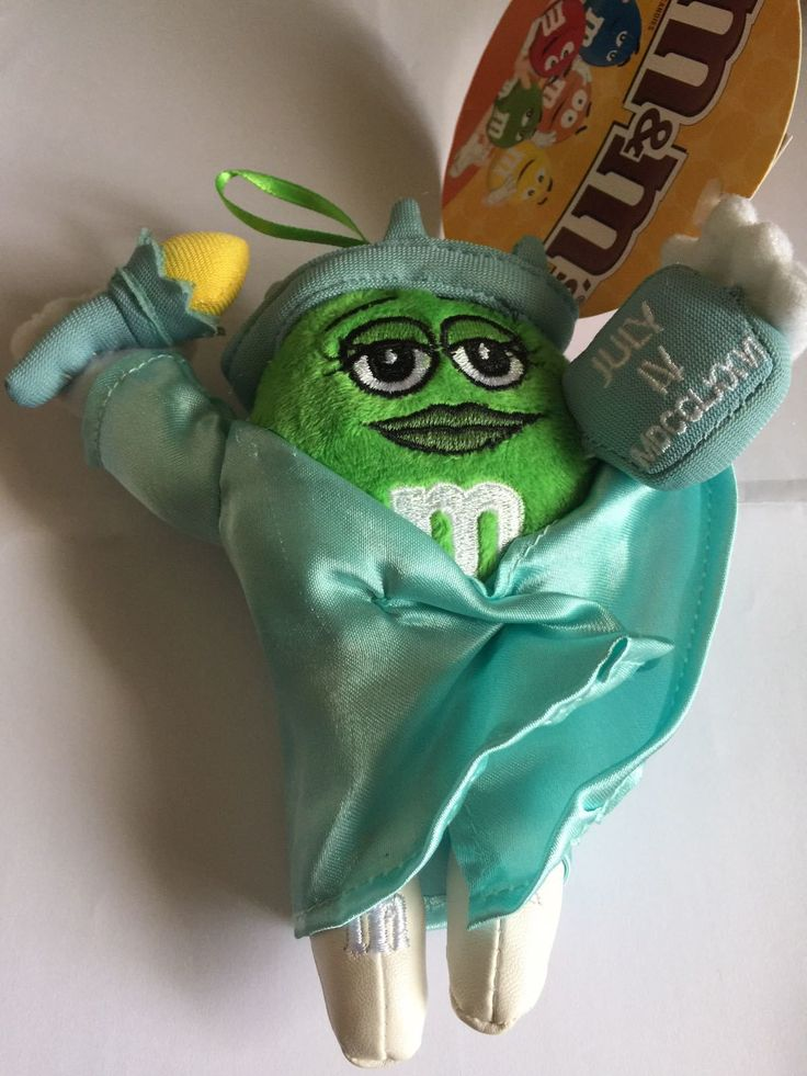 M&M's World Green Character as Liberty Statue Christmas Ornament Plush New with Tag