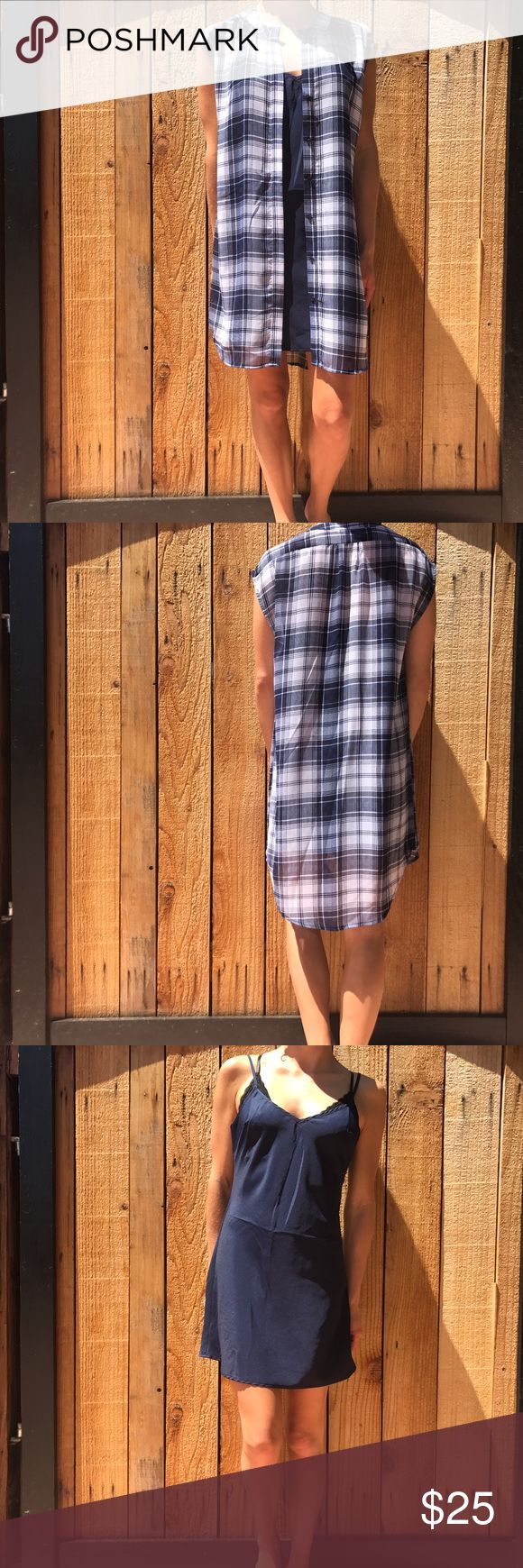 BB Dakota Shirt Dress🎉30% OFF ANY BUNDLE BB Dakota Flannel Cut Off Shirt Dress. New without tags. Comes with matching navy slip. Adjustable straps on the slip and the flannel print top buttons up front. Bundle and save. No trades   #bbdakota #flannel #shirtdress BB Dakota Dresses Mini
