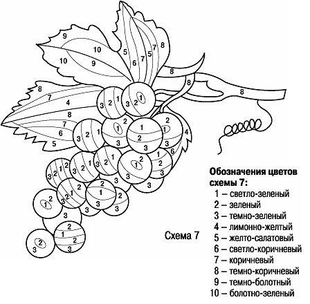 схема рисунка для вышивки гладью