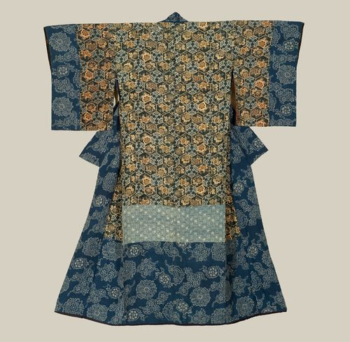 A silk inner antique kimono featuring hem fabric patterned using the katazome technique.  1840-1880, Japan. The Kimono Gallery
