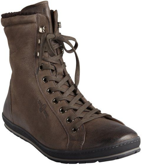 $154, Dark Brown Leather Boots: Car Shoe Dark Grey Leather And Fleece Lined Boot. Sold by Bluefly. Click for more info: https://lookastic.com/men/shop_items/193106/redirect
