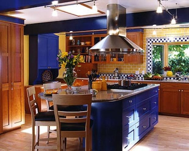 blue kitchen by lauratrevey, via Flickr