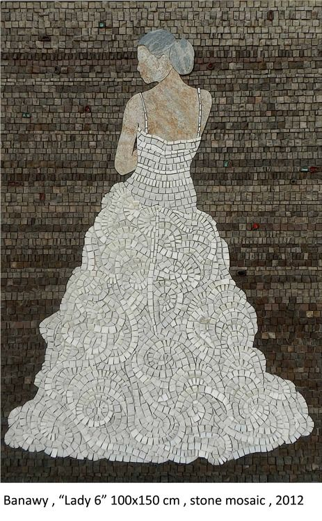 """Lady 6"" by Egyptian artist Mohamed Banawy, 100cm X 150 cm, stone mosaic, 2012."