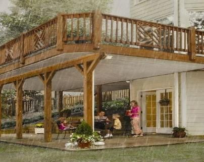 Wood deck with underneath walkout decks lake house Walkout basement deck designs