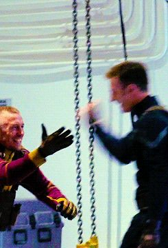 Chris Evans and UFC fighter George St. Pierre on the set of The Winter Soldier