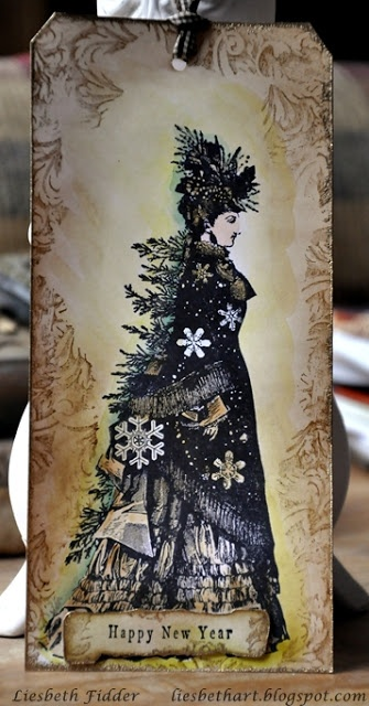 Love this tag!!  Stamps: PaperArtsy Lynne Perrella stamps & Stampers Anonymous. From Lisbeth Fidder