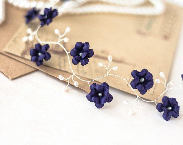 Haarschmuck & Kopfputz - Violet Stirnband, lila hochzeit, dunkel lila Haare - ein Designerstück von Arsiart bei DaWanda