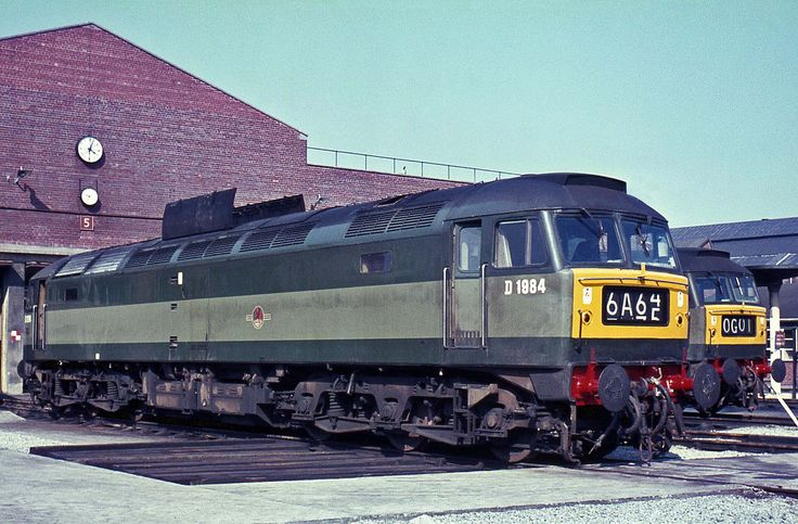 D1984 (later 47282) at Gateshead in 1966. Built at Crewe and delivered to Gateshead on 8th Jan 1966. Officially withdrawn on 17th Sept 1986 after being involved in a fatal accident at Micheldever on 27th April 1986. Whilst travelling light the loco ran into the rear of an engineers train (Hauled by 47471) resulting in the death of the driver. Eventually cut up at C.F.Booth's, Rotherham in Aug 1989