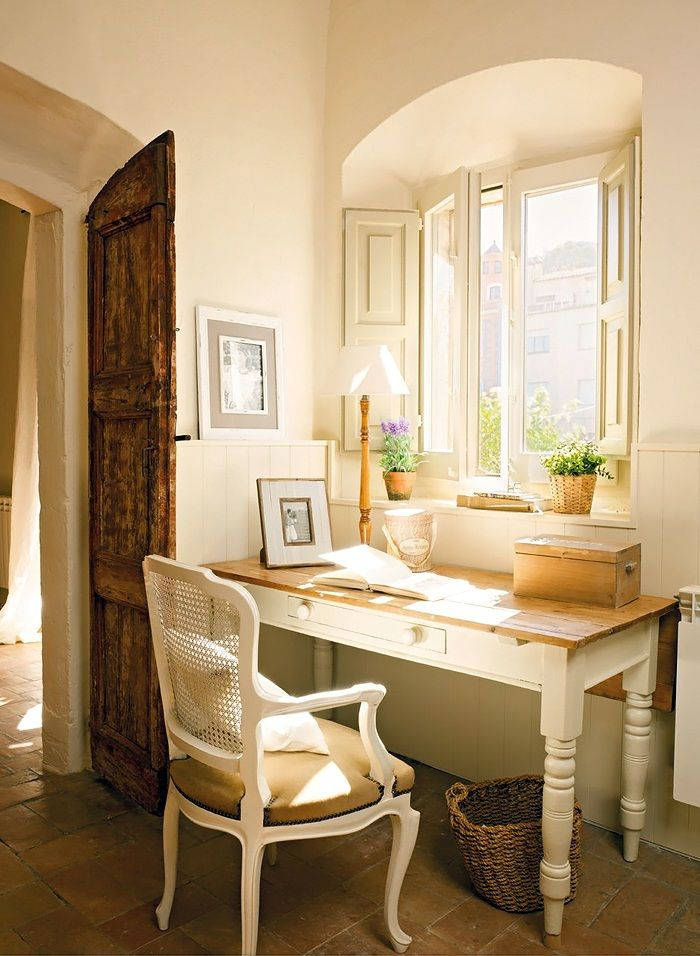arched window space & doors.: Writing Desks, Desks Area, Chairs, Workspace, Cottages Chic, Work Spaces, Homes Offices Spaces, Windows Shutters, Offices Nooks