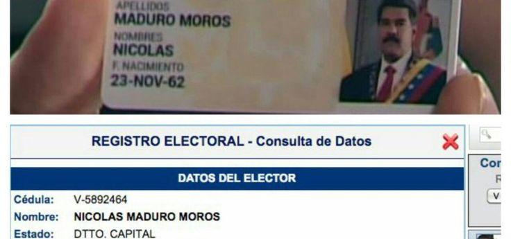 ¡SE LE CAYO LA CARETA¡ Nº de cédula en 'Carnet de la Patria' de Maduro no coincide con su registro electoral (+Imágenes)