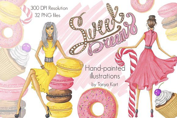 Sweel Dreams Hand-painted Clipart by Tanya Kart on @creativemarket